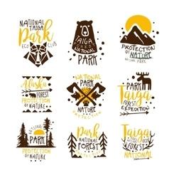 Alaska national park promo signs series of vector