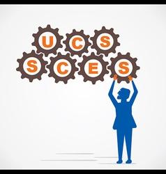 arrange gear and make success word vector image