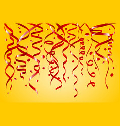 Birthday yellow background with curling streamers vector