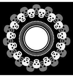 Black and white ethnic round frame with skulls vector