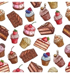 Cakes cupcakes muffins Patisserie pattern vector image vector image