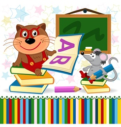 Cat mouse in school vector