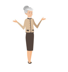 Caucasian confused business woman with spread arms vector
