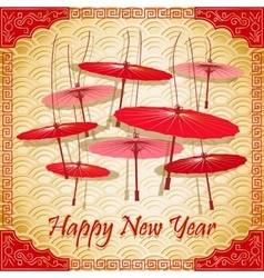 Chinese red umbrellas on abstract background vector