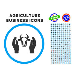 Cow head care hands rounded icon with set vector