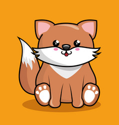 Cute fox character kawaii style vector