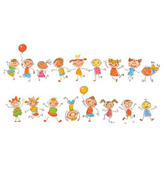 Cute happy kids in style of childrens drawings vector