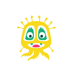cute yellow cartoon monster fabulous incredible vector image vector image
