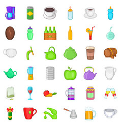 different drinks icons set cartoon style vector image