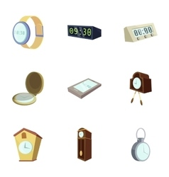 Different slyle of clock icons set cartoon style vector image