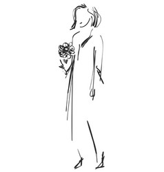 Fashion sketch cartoon models girls with bouquet vector