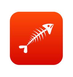 fish bone icon digital red vector image