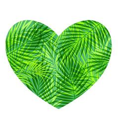 Green tropical heart vector