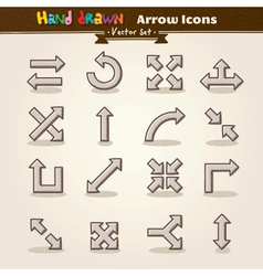 Hand Draw Arrow Icon Set vector image