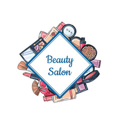 hand drawn makeup elements vector image vector image