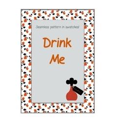 Invitation postcard drink me bottle from vector