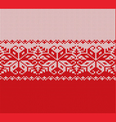 knitted christmas red and white floral geometric vector image vector image
