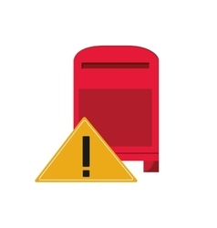 Mailbox and warning sign icon vector