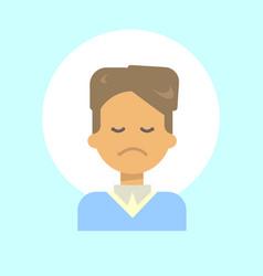 male sad emotion profile icon man cartoon vector image