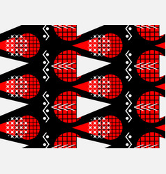 memphis seamless pattern of black and red vector image vector image