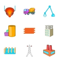 Metallurgical plant icons set cartoon style vector image