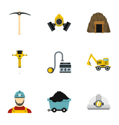 Mine icons set flat style vector