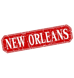 New orleans red square grunge retro style sign vector