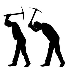 people with pick axes vector image