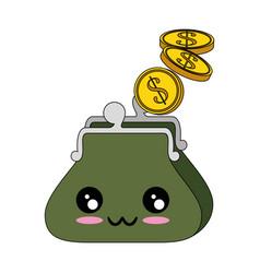 Purse with coins kawaii cartoon vector