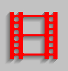 Reel of film sign red icon with soft vector