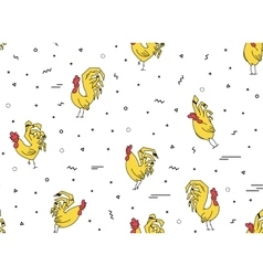 Seamless pattern with yellow rooster on a white vector