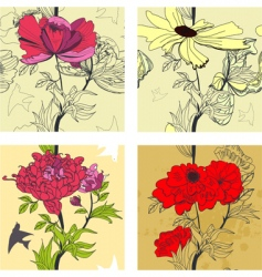 set of floral seamless border vector image vector image