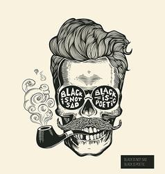 Skull hipster skull silhouette with mustache vector