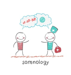 somnology speaks with the patient about the vector image vector image