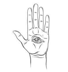 Spiritual hand with the allseeing eye on the palm vector
