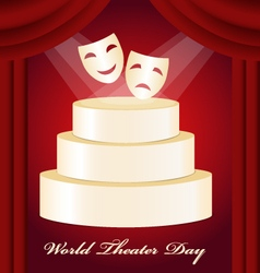 Theatrical mask gold podium world theater day vector
