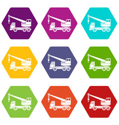 Truck crane icon set color hexahedron vector