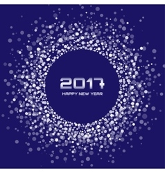 White New Year 2017 circle frame blue Background vector image