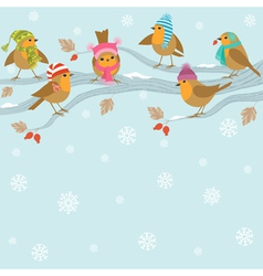 Winter background with funny birds vector