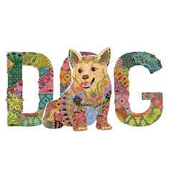 Word dog with a figure of a dog decorative vector