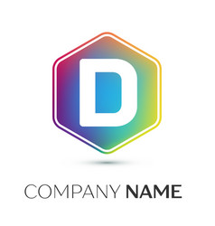 letter d logo symbol in the colorful hexagonal on vector image
