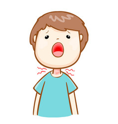 Ill man sore throat cartoon vector