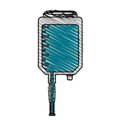 Color crayon stripe cartoon medical serum bag vector