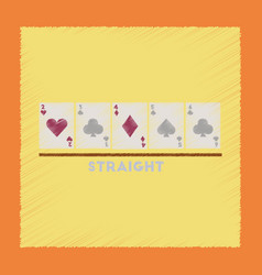 Flat shading style icon cards straight vector