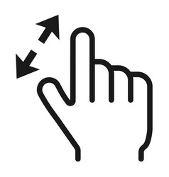 2 finger zoom in line icon touch and gesture vector