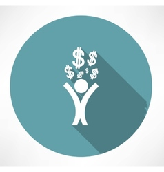 Happy man with money icon vector