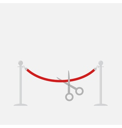 Scissors cutting red rope silver barrier stanchion vector
