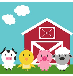 Barn and cute farm animals set vector