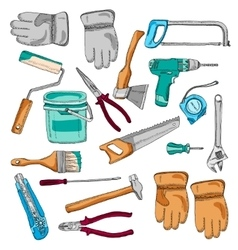 Painter working tools icons set color vector