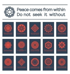 Asian religious posters with buddha quotes vector